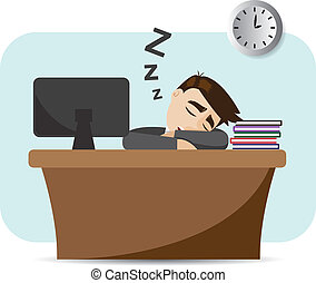 cartoon businessman sleeping on working time - illustration...