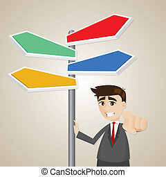 illustration of cartoon businessman standing with signage