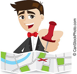 cartoon businessman sticky pin on map