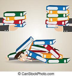 cartoon businessman under pile of folder - illustration of...