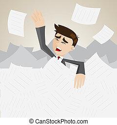 cartoon businessman under pile of paper