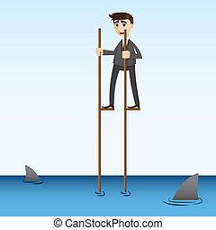 cartoon businessman walking in sea