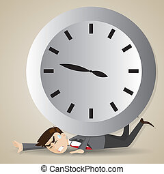 illustration of cartoon businessman with big clock over his back in deadline concept