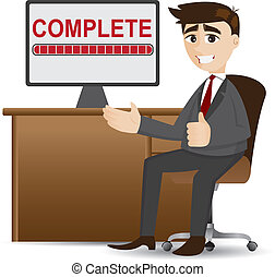 illustration of cartoon businessman with complete process