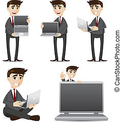 cartoon businessman with computer laptop set