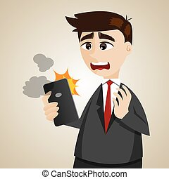 cartoon businessman with error smartphone