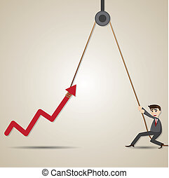cartoon businessman with hoist up arrow