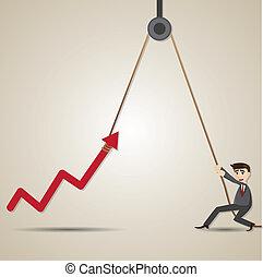 illustration of cartoon businessman with hoist up arrow in progress concept