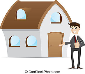 cartoon businessman with house