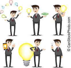cartoon businessman with idea bulb set