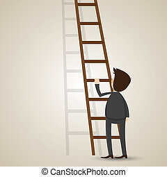 cartoon businessman with ladder