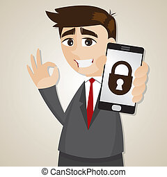 cartoon businessman with locking smartphone