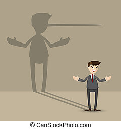 cartoon businessman with long nose shadow on wall -...
