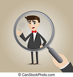 cartoon businessman with magnifier - illustration of cartoon...