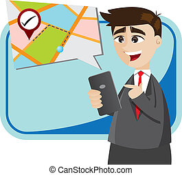 cartoon businessman with map from smartphone
