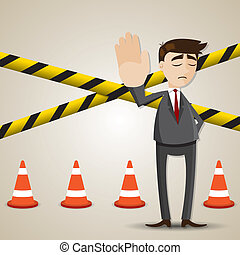 illustration of cartoon businessman with restricted area