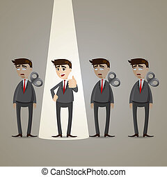 illustration of cartoon businessman with spotlight winner in success concept