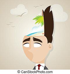cartoon businessman with summer beach in his head