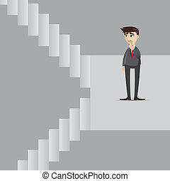 cartoon businessman with up and down stair