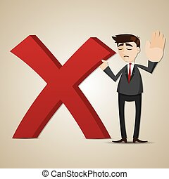 illustration of cartoon businessman with wrong mark
