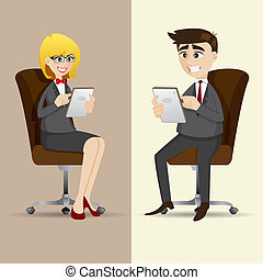 cartoon businesspeople sitting on chair and using tablet -...