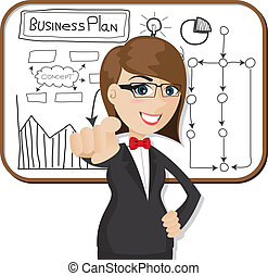 cartoon businesswoman with business plan - illustration of...