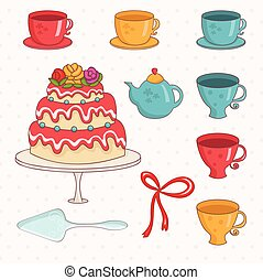 Illustration of cartoon cake,cups and teapot .Vector.