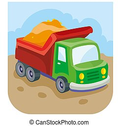 illustration of cartoon car truck with sand in the back of a construction worker, vector illustration,