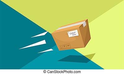 cartoon carton box parcel throw