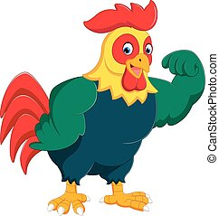 Cartoon chicken rooster posing - illustration of Cartoon...