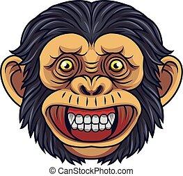 Cartoon Chimpanzee Head Mascot
