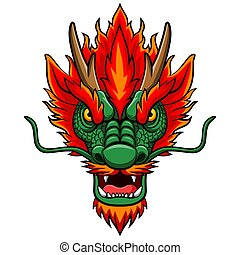 Cartoon chinese dragon head mascot