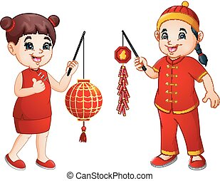 Cartoon chinese kids holding a lanterns and firecrackers