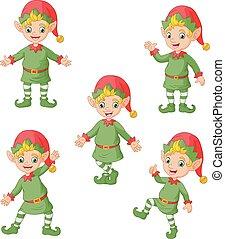 Cartoon christmas elves collection set