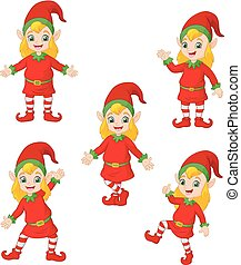 Cartoon Christmas elves in different poses and actions -...