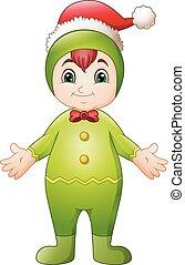 Cartoon christmas girl elf waving