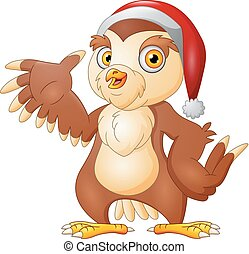 Cartoon Christmas owl presenting