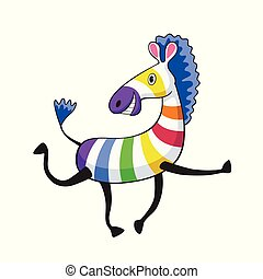 Illustration of cartoon colorful zebra