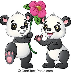 Cartoon couple panda with a flowers