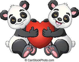Cartoon couple panda with a red heart