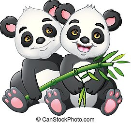 Cartoon couple panda with green bamboo
