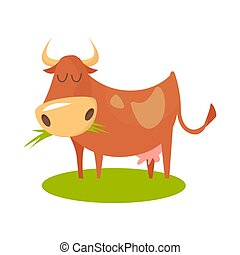 illustration of Cartoon cow standing on grass.