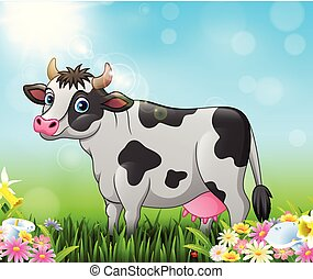 Cartoon cow with nature background