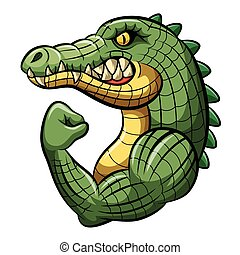 Cartoon crocodile strong mascot design