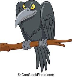 Cartoon crow on a tree branch