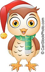 Cartoon cute Christmas owl