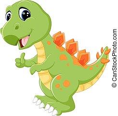 vector illustration of cartoon cute dinosaur rh canstockphoto com Cute Dinosaur Outline Cute Dinosaur Outline