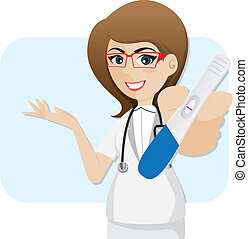 illustration of cartoon cute doctor with pregnancy tester in healthcare concept