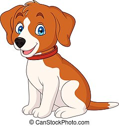 Cartoon cute dog wearing a red collar - Illustration of...