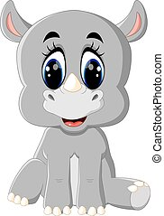 Cartoon cute rhino sitting